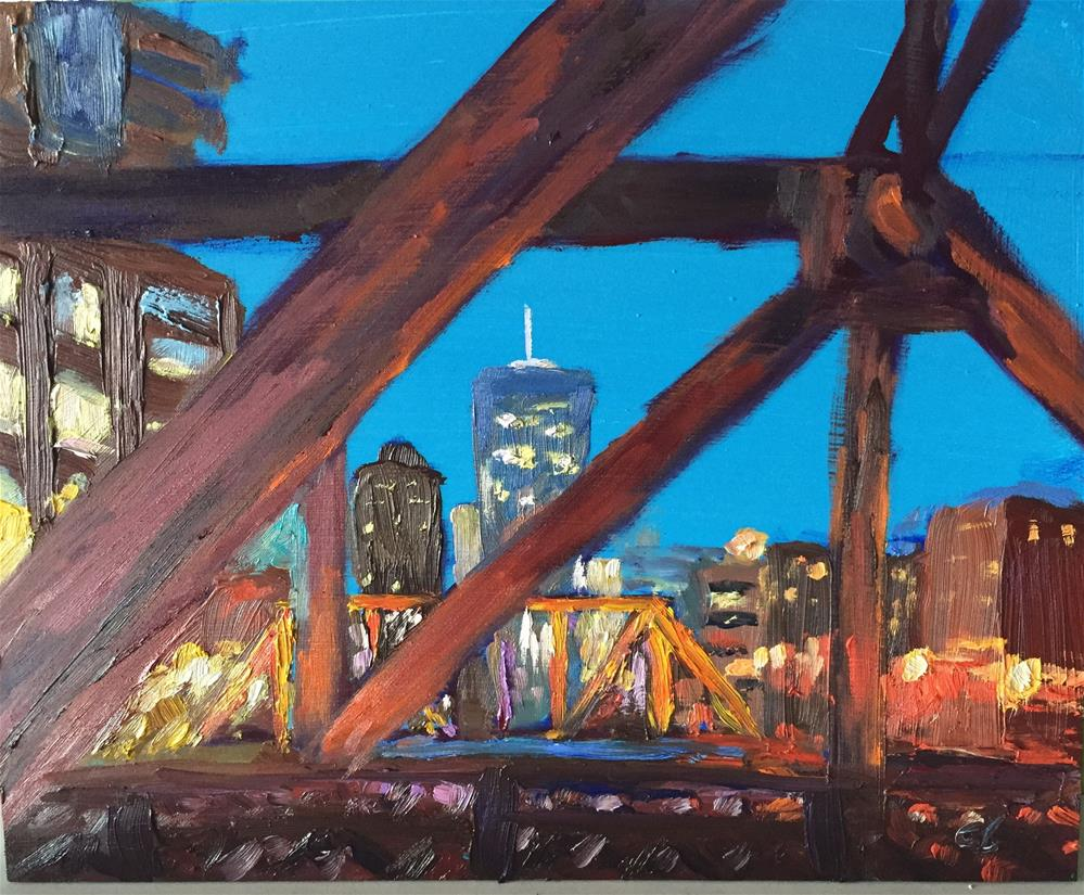 """Peeking through the city"" original fine art by Cheree Apalona Lueck"
