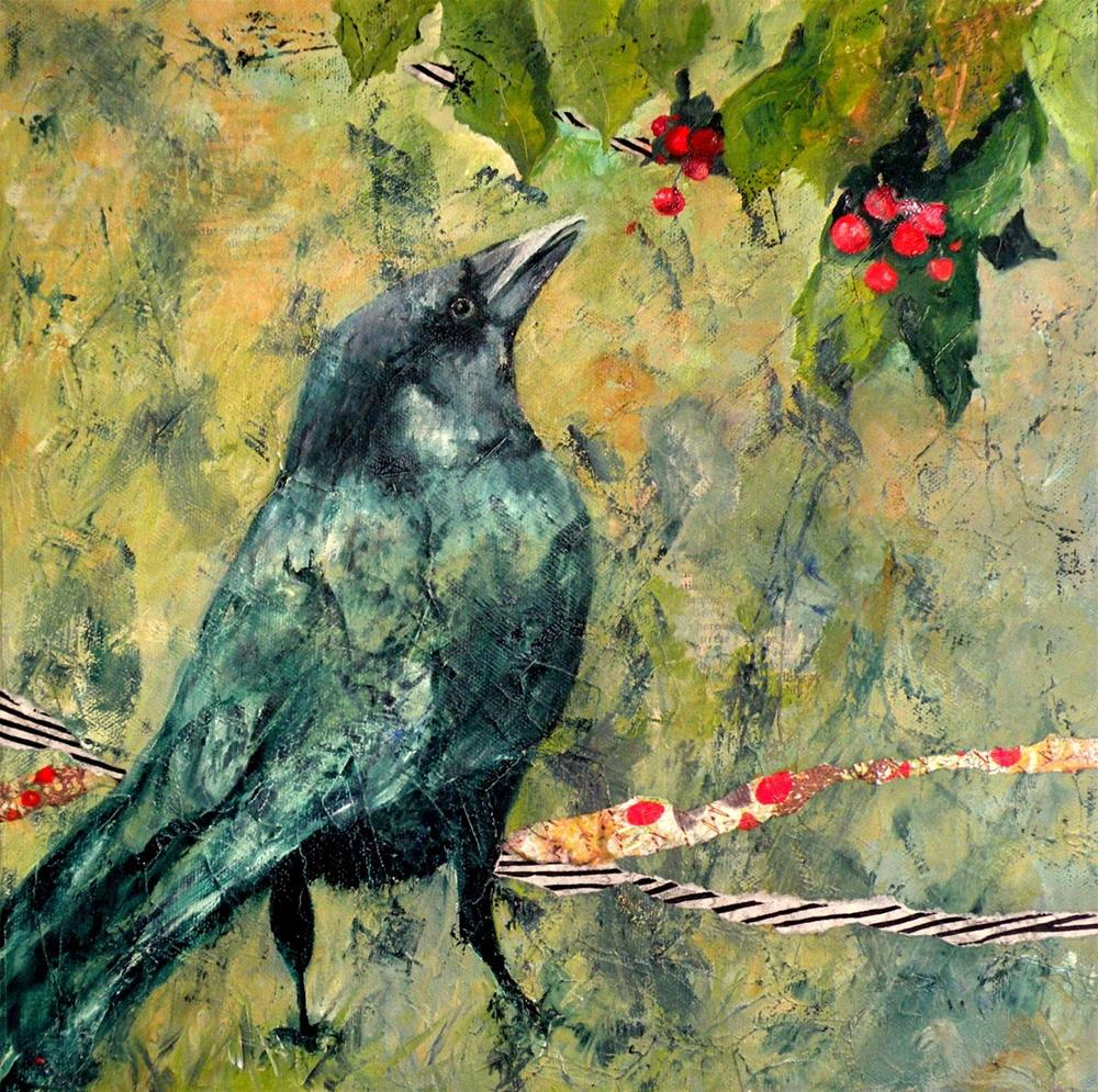 """I DREAMED OF A CROW ORIGINAL MIXED MEDIA ON CANVAS © SAUNDRA LANE GALLOWAY"" original fine art by Saundra Lane Galloway"