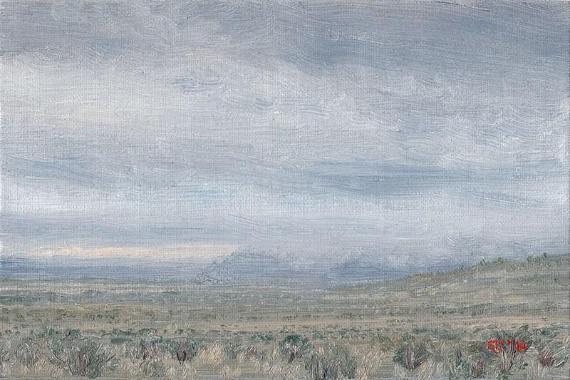 """""""C1590 Misty High Desert Showers (Warner Valley, Oregon High Desert)"""" original fine art by Steven Thor Johanneson"""