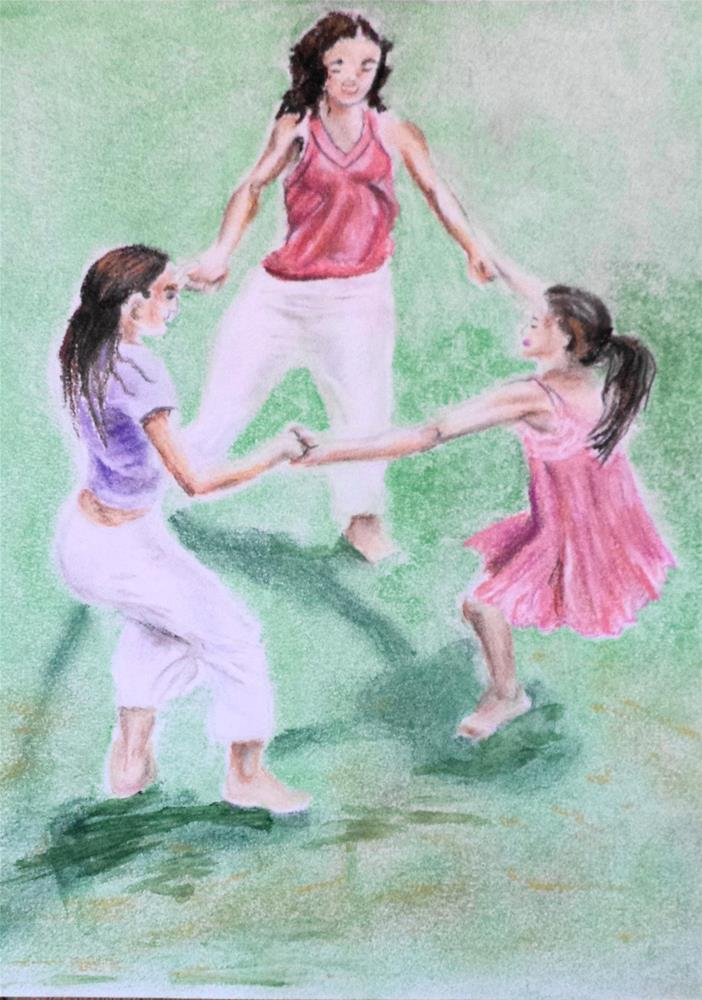 """Mother and Daughters Dance in park"" original fine art by tara stephanos"