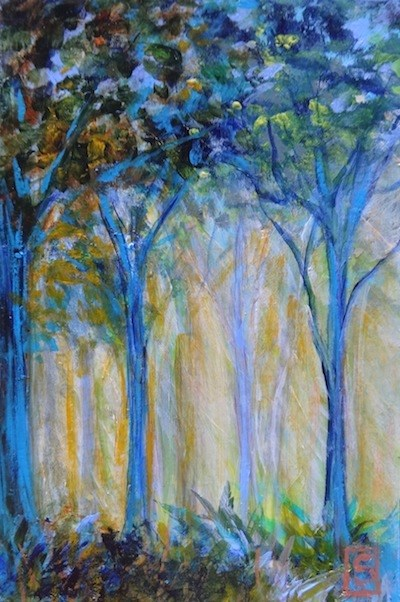 """4057 - Mounted - Blue Forest - Expresso Block Mount"" original fine art by Sea Dean"