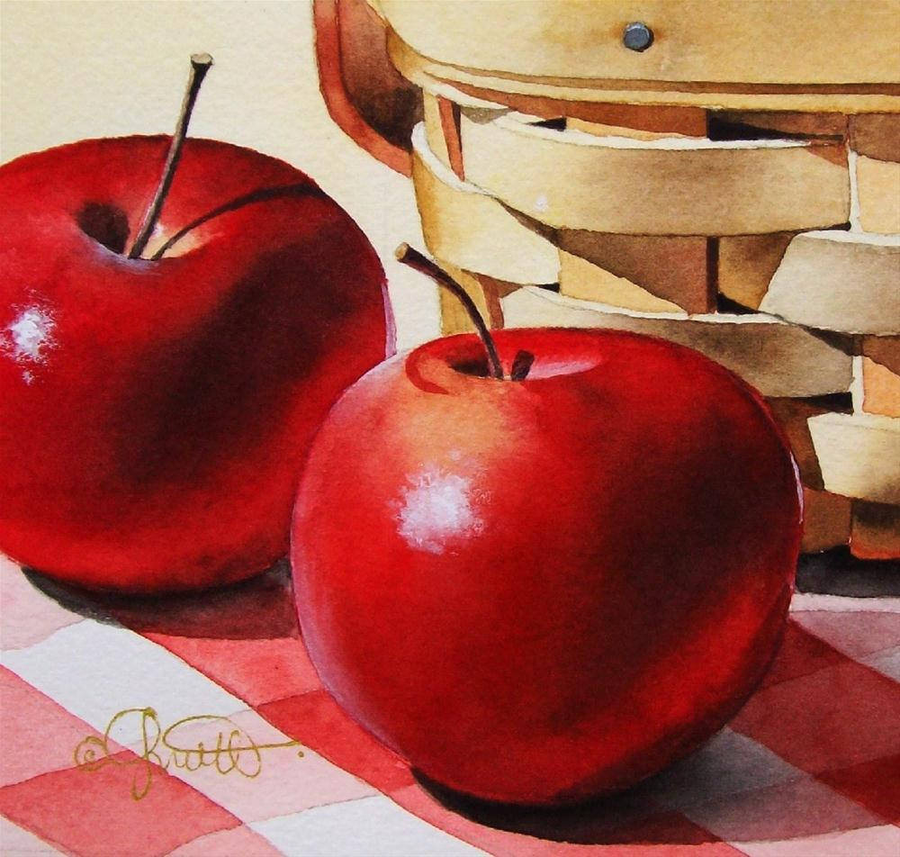 """Apples & Basket"" original fine art by Jacqueline Gnott, TWSA, WHS"