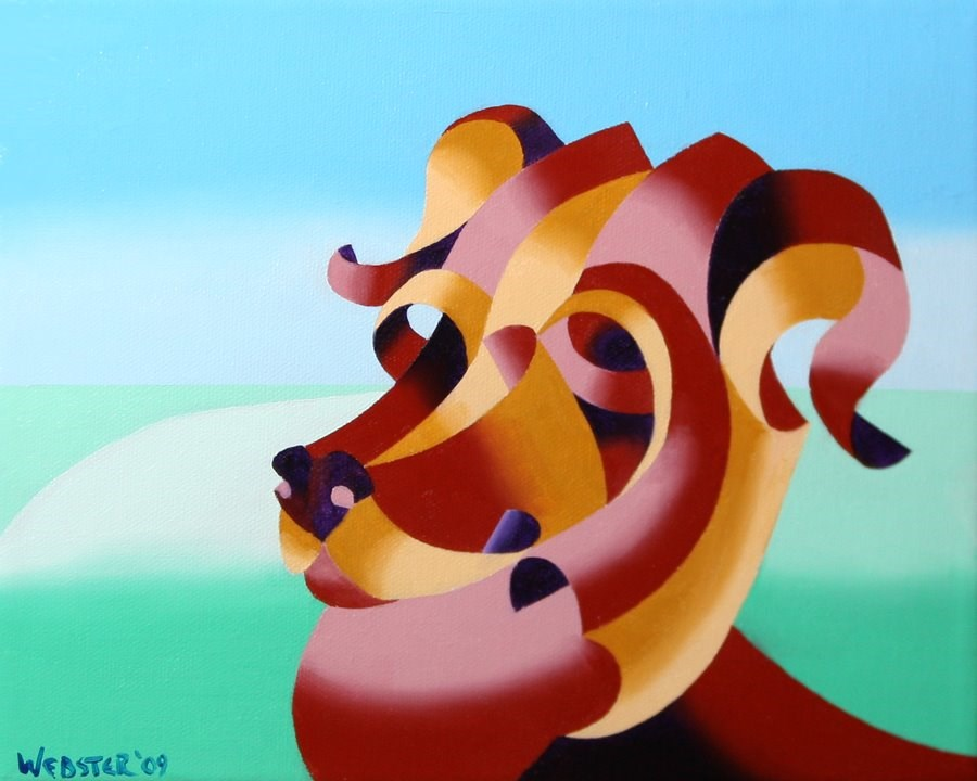 """Mark Webster - Abstract Geometric Dog Oil Painting"" original fine art by Mark Webster"
