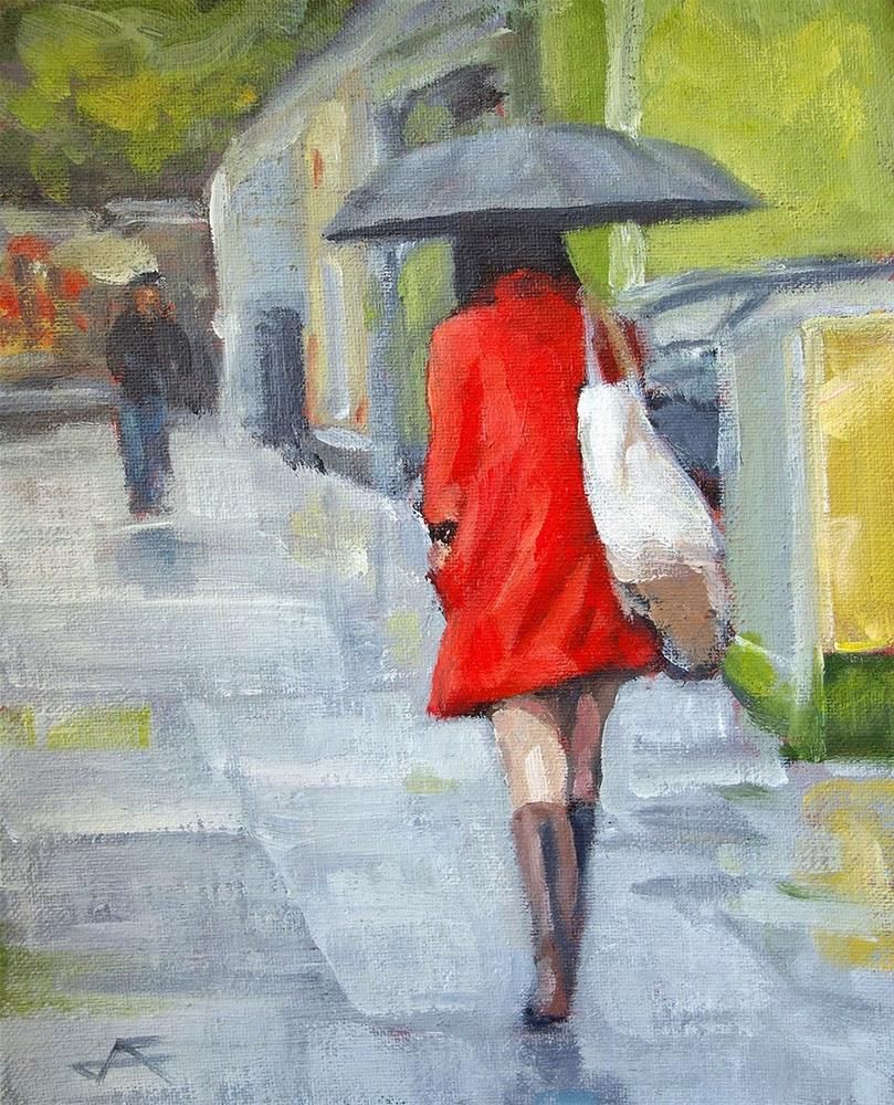 """Rain Walk II"" original fine art by J. Farnsworth"