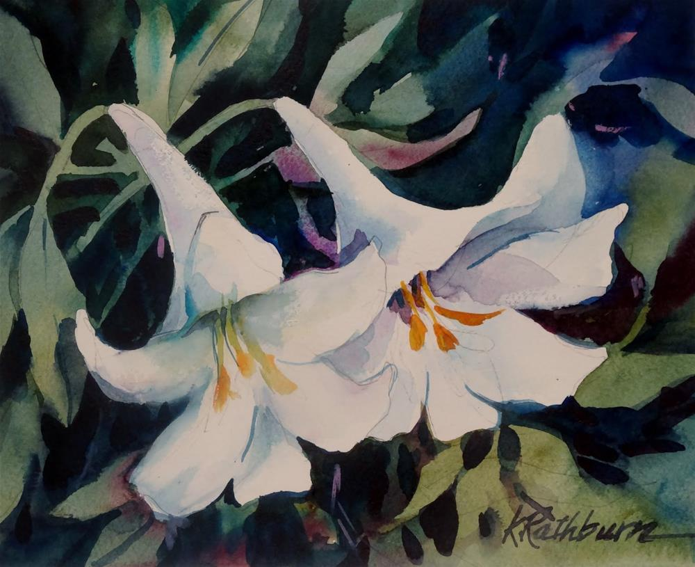 """Clippings from my Garden-White Lily"" original fine art by Kathy Los-Rathburn"