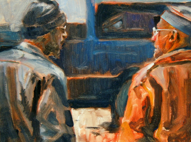"""Brothers  figurative oil painting"" original fine art by Robin Weiss"