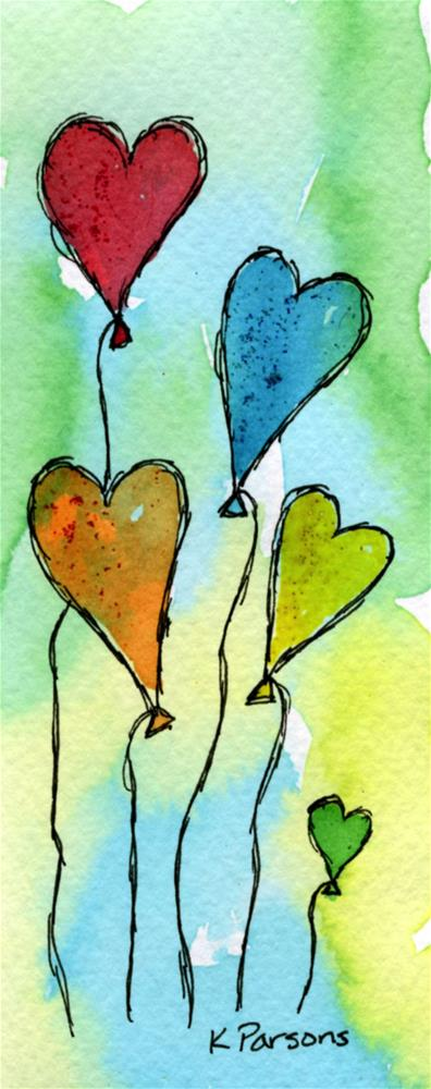 """Heart Balloons"" original fine art by Kali Parsons"