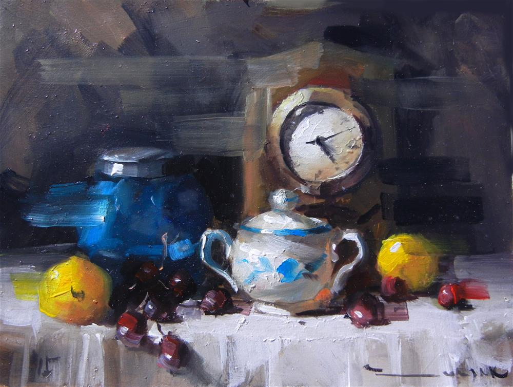"""Clock and a pot"" original fine art by Dragan Culjak"