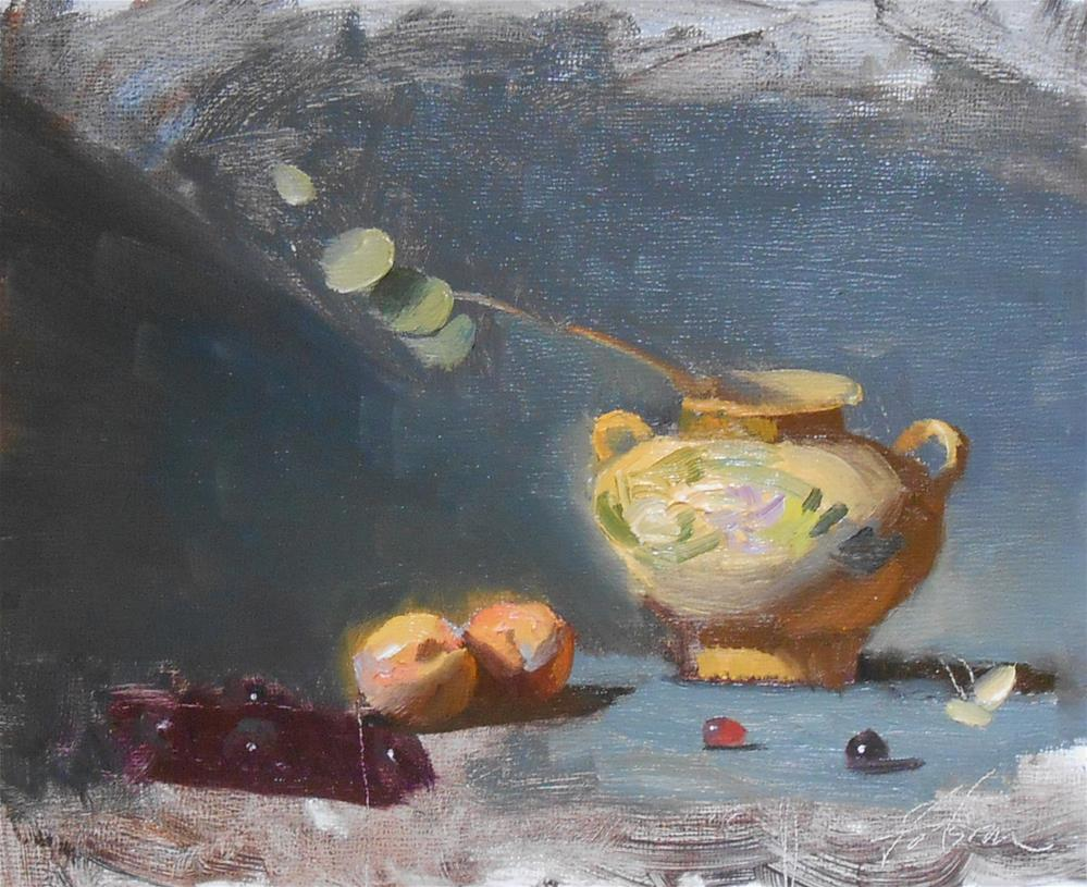 """Stone Jar and Apricots"" original fine art by Kelli Folsom"