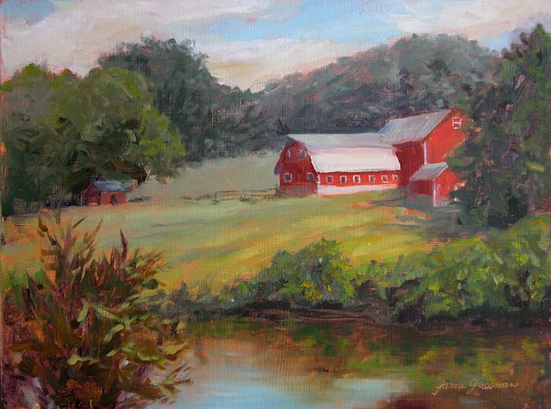 """Red Barns By the Creek"" original fine art by Jamie Williams Grossman"