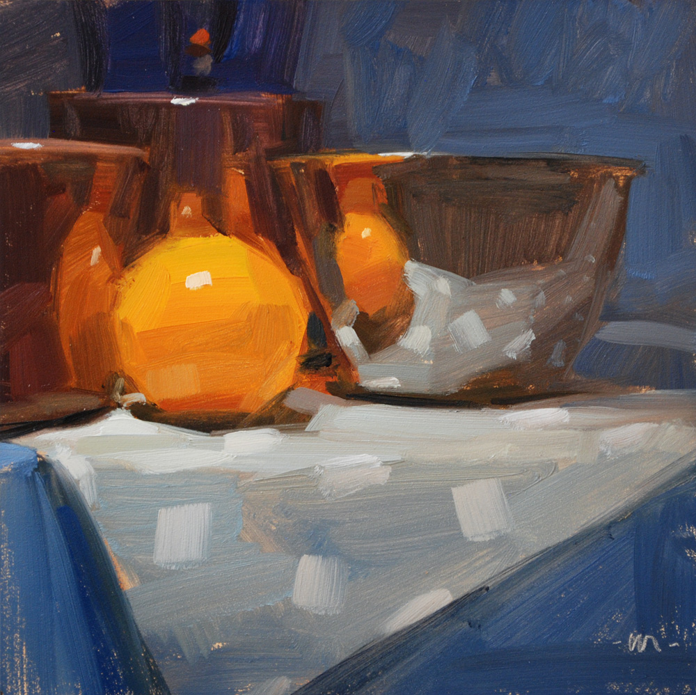 """Reflecting On Orange"" original fine art by Carol Marine"