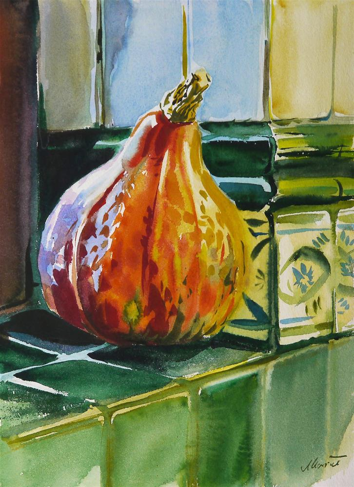 """pumpkin in the kitchen"" original fine art by Beata Musial-Tomaszewska"