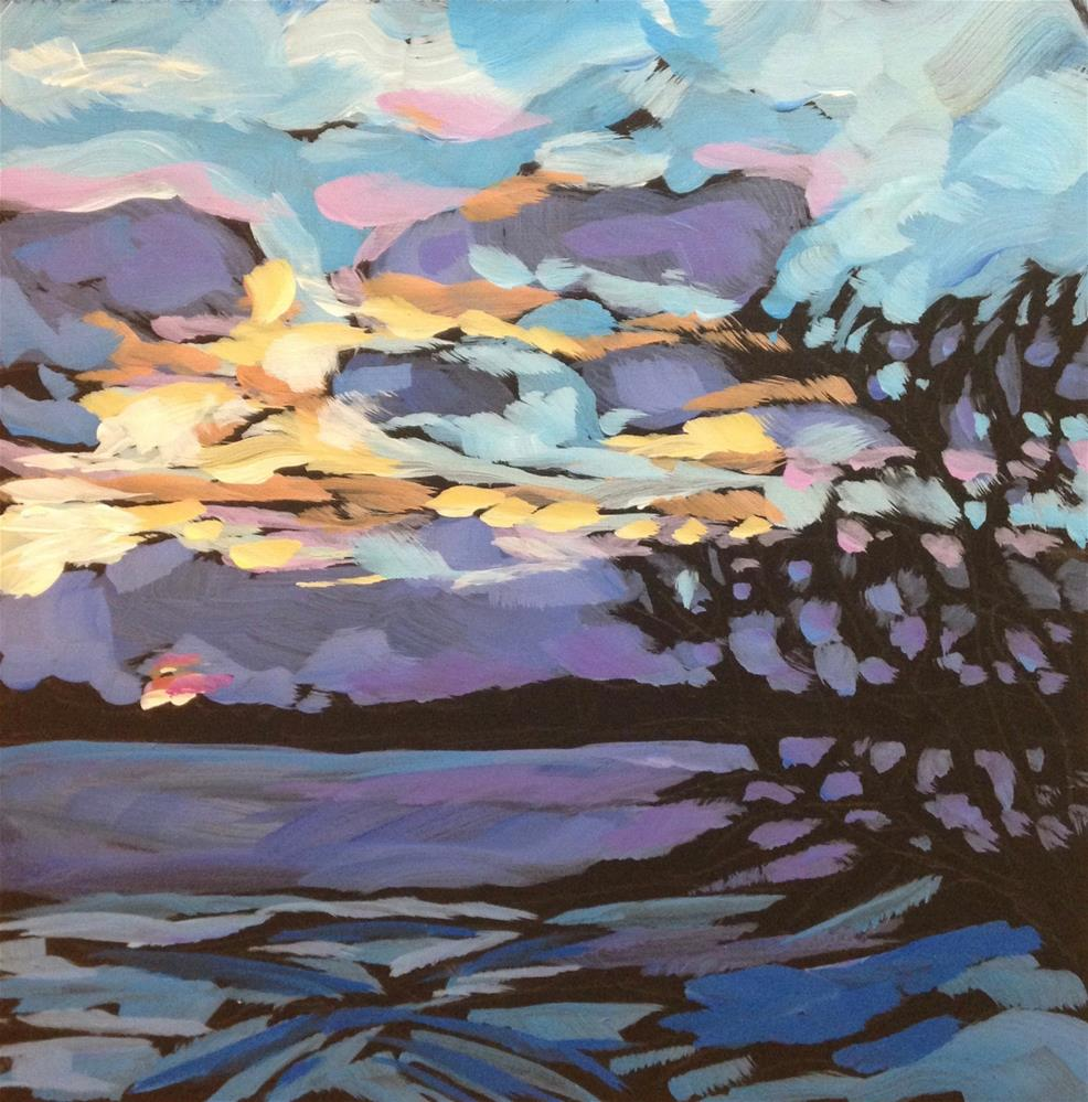 """Duluth Bay, Sunset"" original fine art by Kat Corrigan"