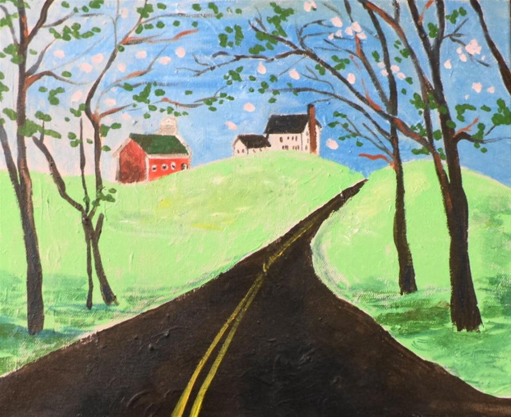"""Red Barn on Hill"" original fine art by tara stephanos"