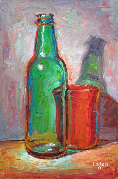 """Green Bottle and Red Cup"" original fine art by Raymond Logan"