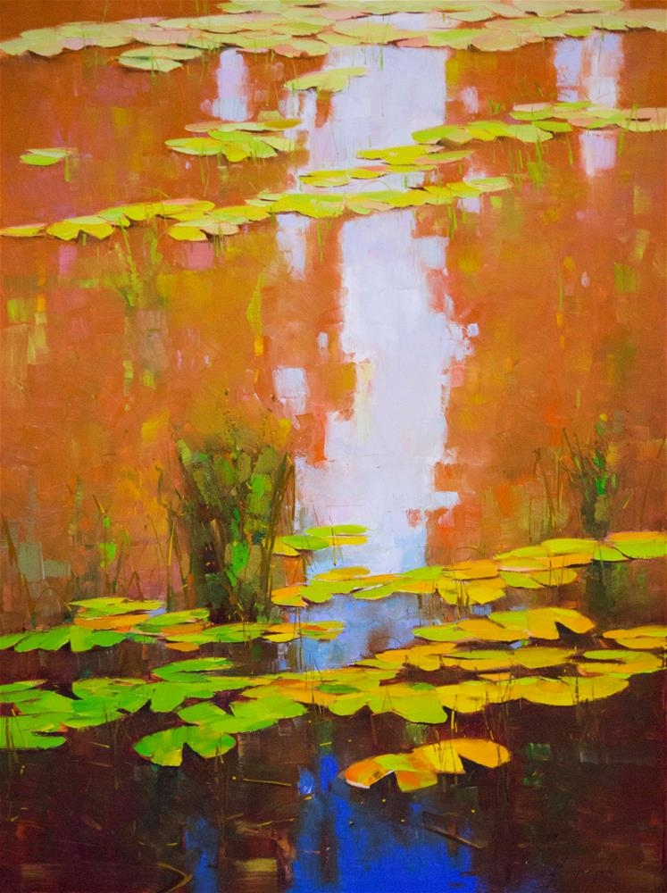"""Waterlilies Large size oil Painting One of a kind"" original fine art by V Y"