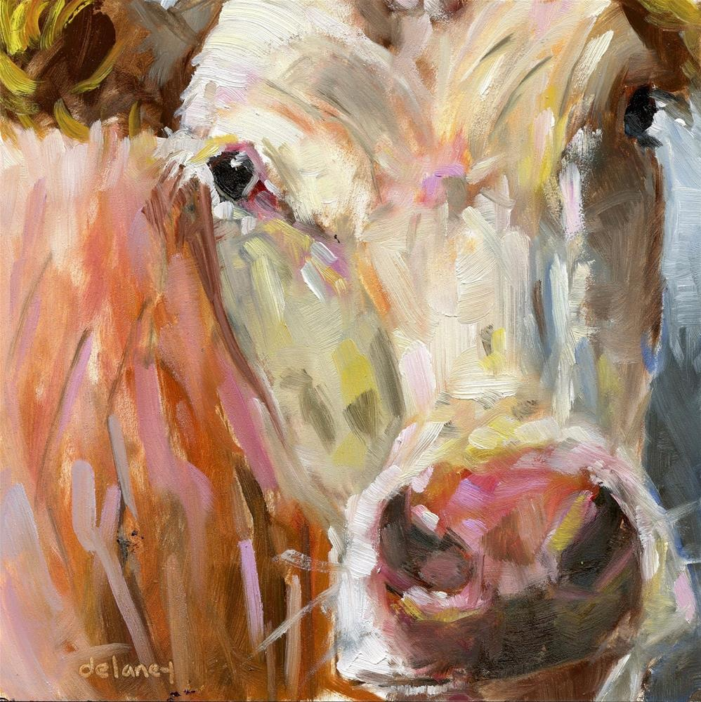 """Cow 163 THE PROM QUEEN"" original fine art by Jean Delaney"