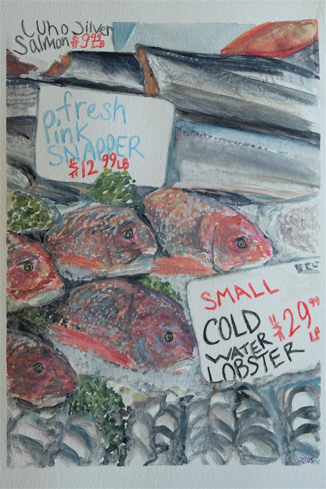 """Pink Snapper"" original fine art by Laura Denning"