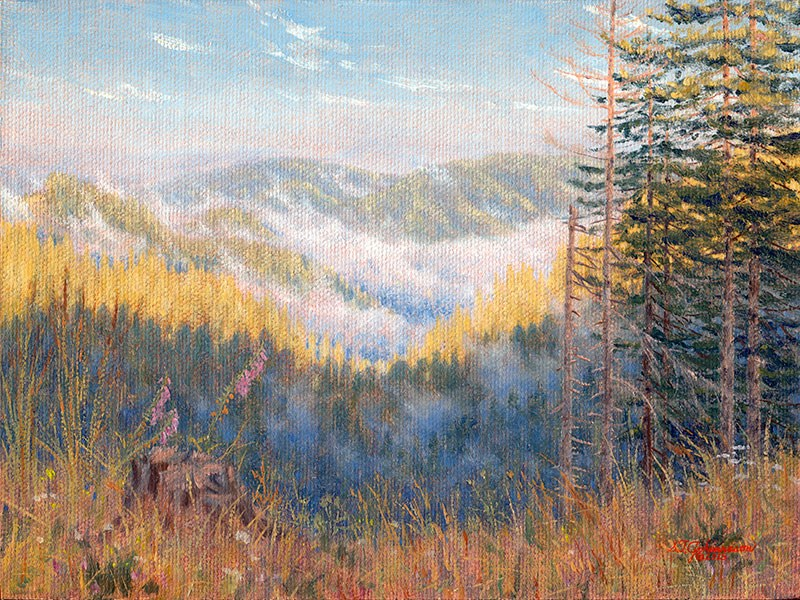 """C1596 Early Morning in the Coast Range (Oregon)"" original fine art by Steven Thor Johanneson"