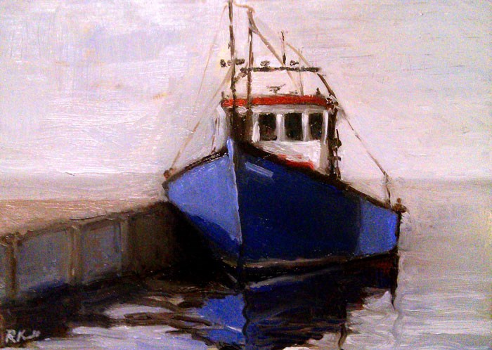 """A Blue Boat at the Dock"" original fine art by Bob Kimball"