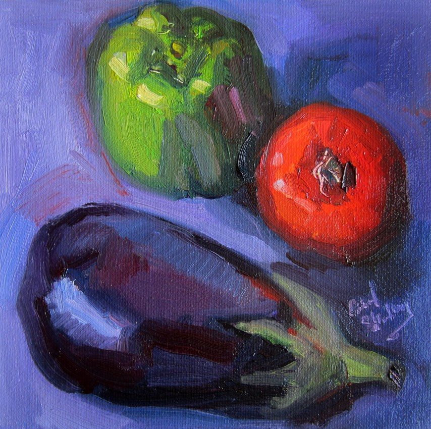 """Mini Eggplant, Pepper. Tomato"" original fine art by Carol Steinberg"