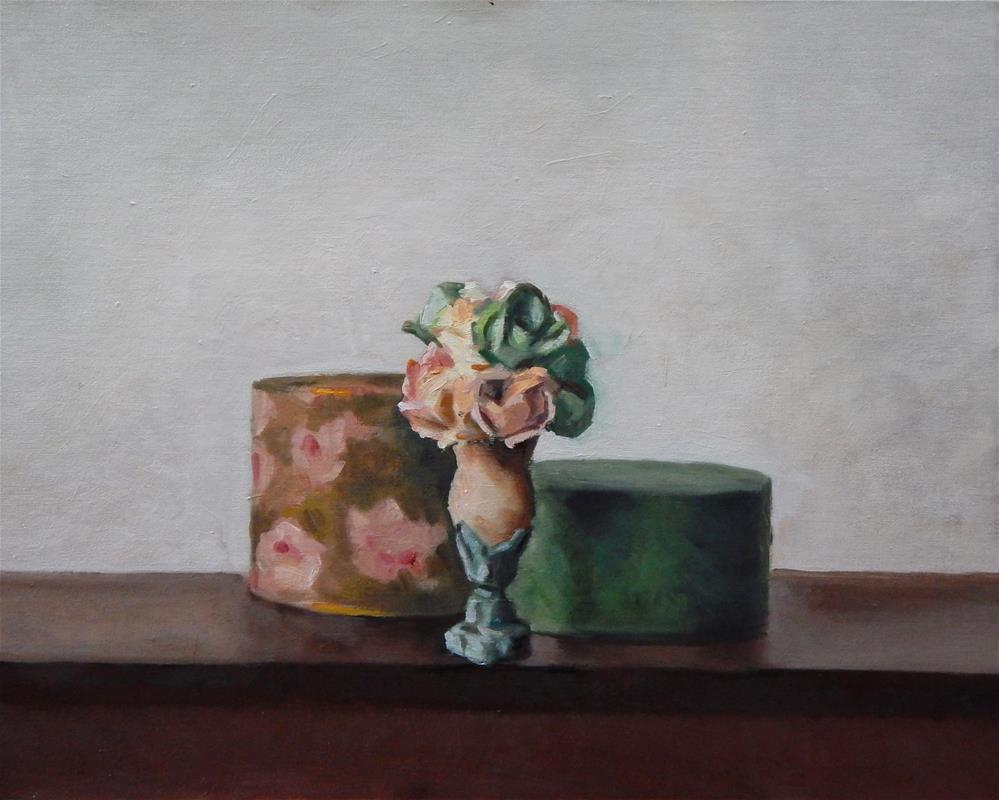 """Still Life with Vase and Two Round Boxes"" original fine art by Megan Schembre"