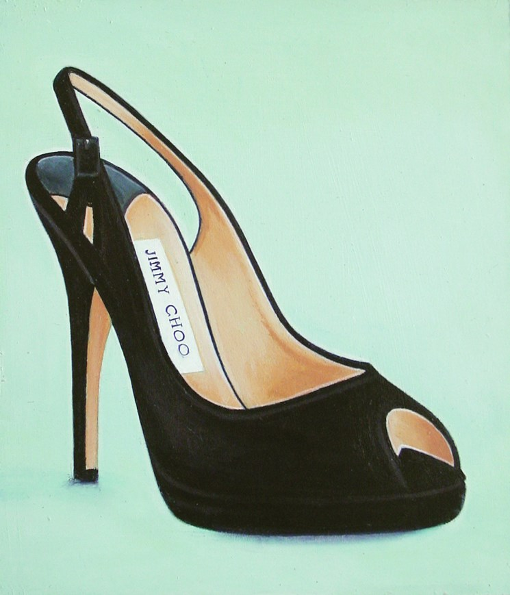 """Jimmy Choo 8- Still Life Painting Of Black Jimmy Choo Open Toe Shoe"" original fine art by Gerard Boersma"