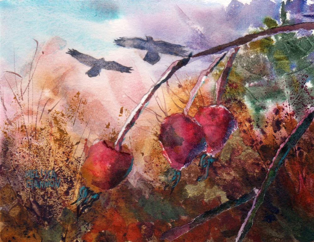 """Rosehips & Ravens"" original fine art by Melissa Gannon"