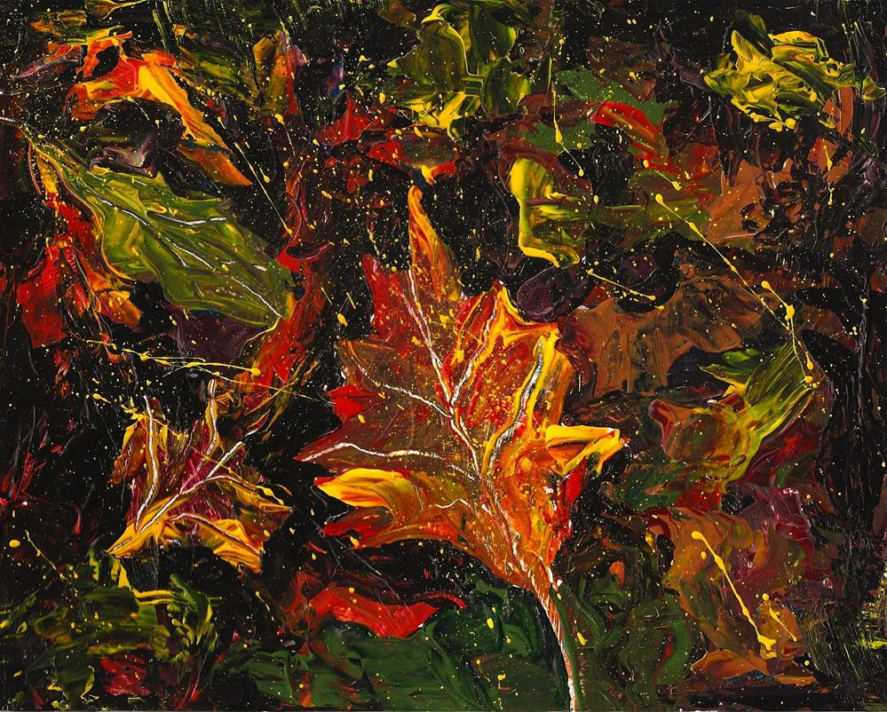 """8x10 Abstract Fall Leaves Acrylic Bright Colors Yellow Orange by Penny StewArt"" original fine art by Penny Lee StewArt"