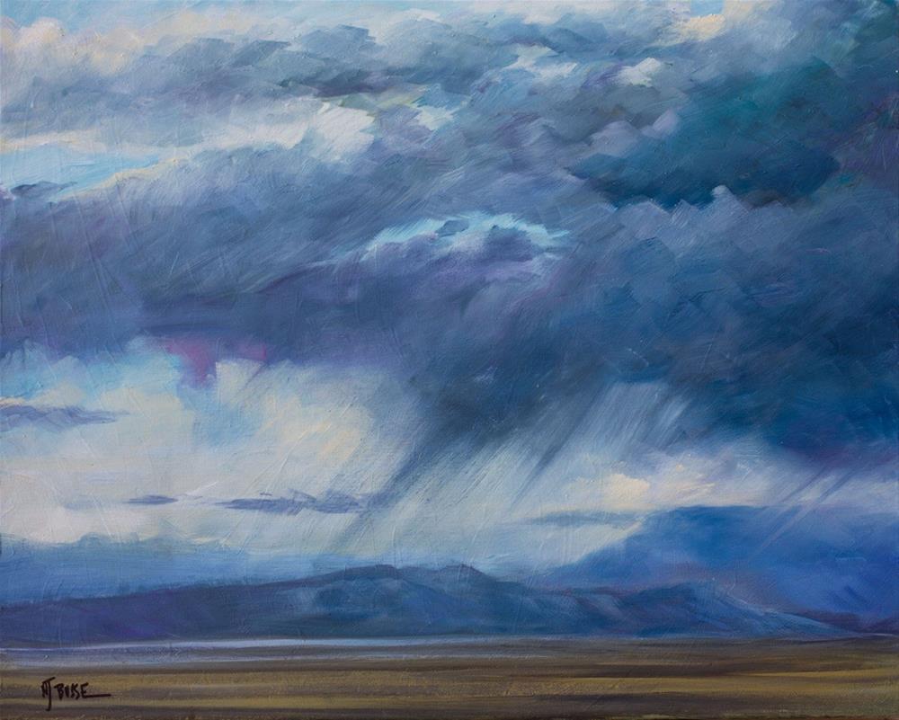 """Original Western Landscape Fine Art Oil Painting Storm Over Grand Mesa  by Colorado Artist Nancee"" original fine art by Nancee Busse"