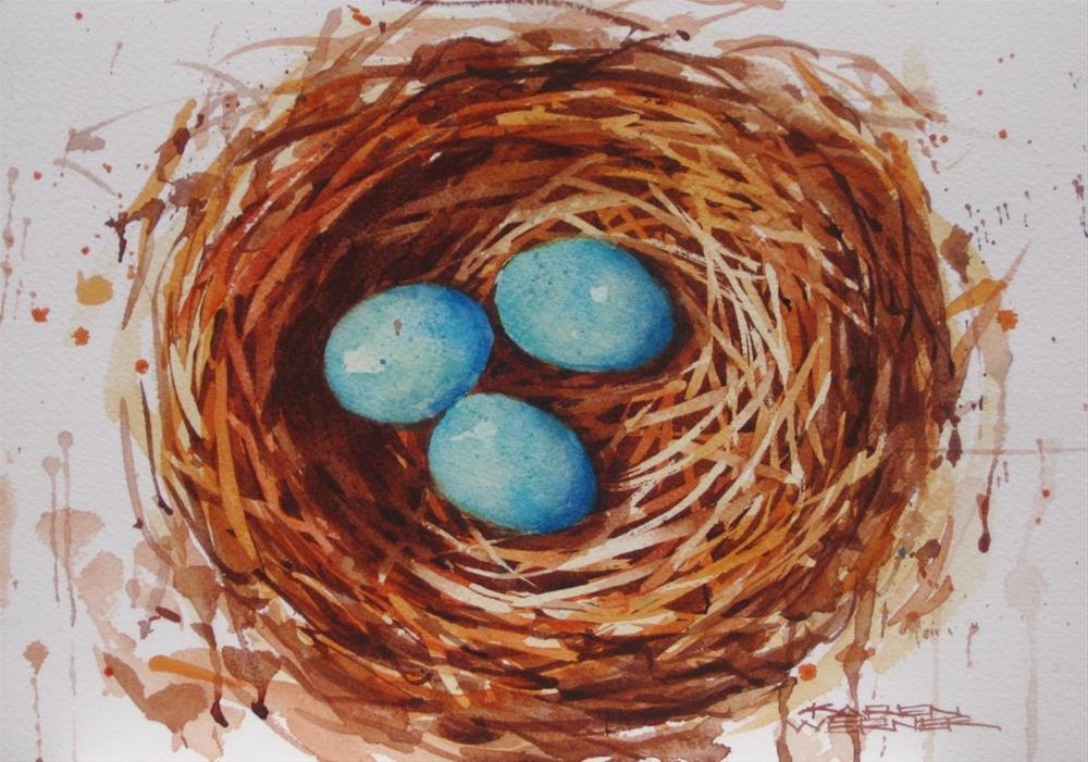 """""""Three In The Nest"""" original fine art by Karen Werner"""