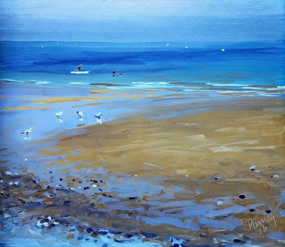 """Paddling Seagulls, Cromer"" original fine art by Tanya Pawsey"