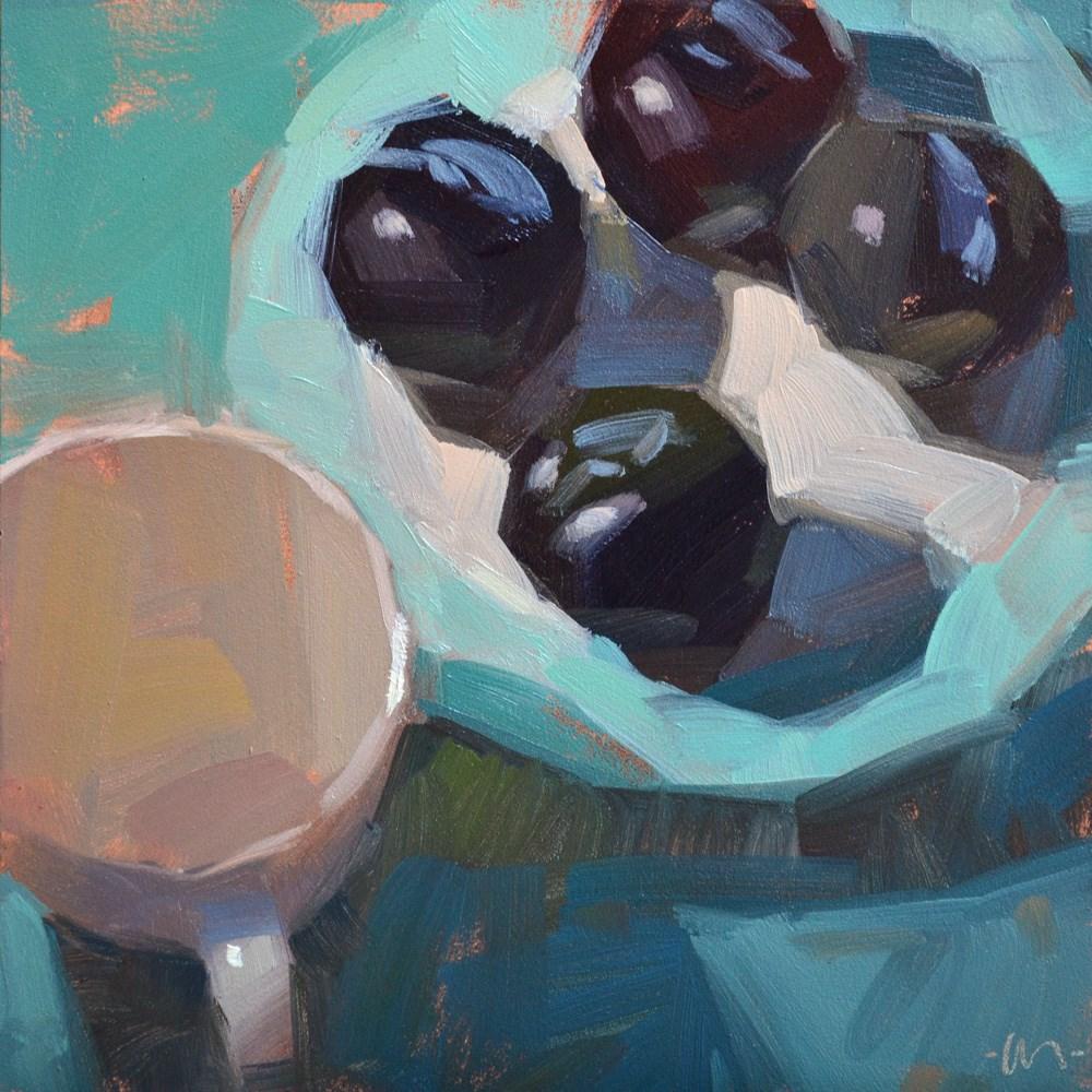 """Plum Plate"" original fine art by Carol Marine"