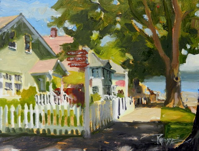 """Port Gamble Picket Fence plein air oil painting by Robin Weiss"" original fine art by Robin Weiss"