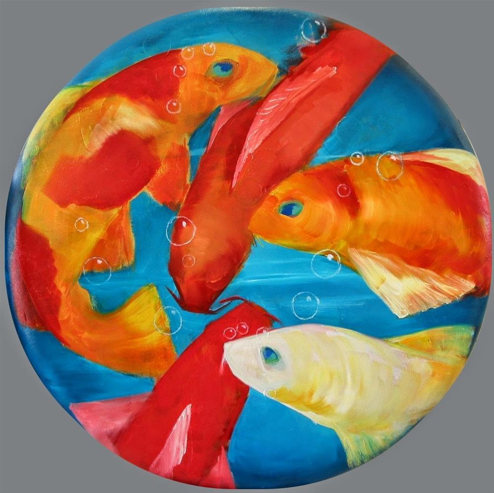 """Dancing Koi"" original fine art by Patricia Murray"