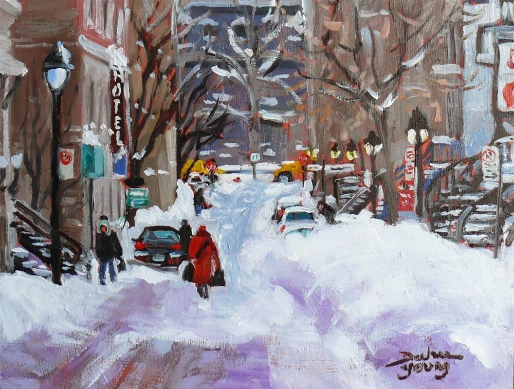 """715 Montreal Winter Scene, Near UQAM"" original fine art by Darlene Young"