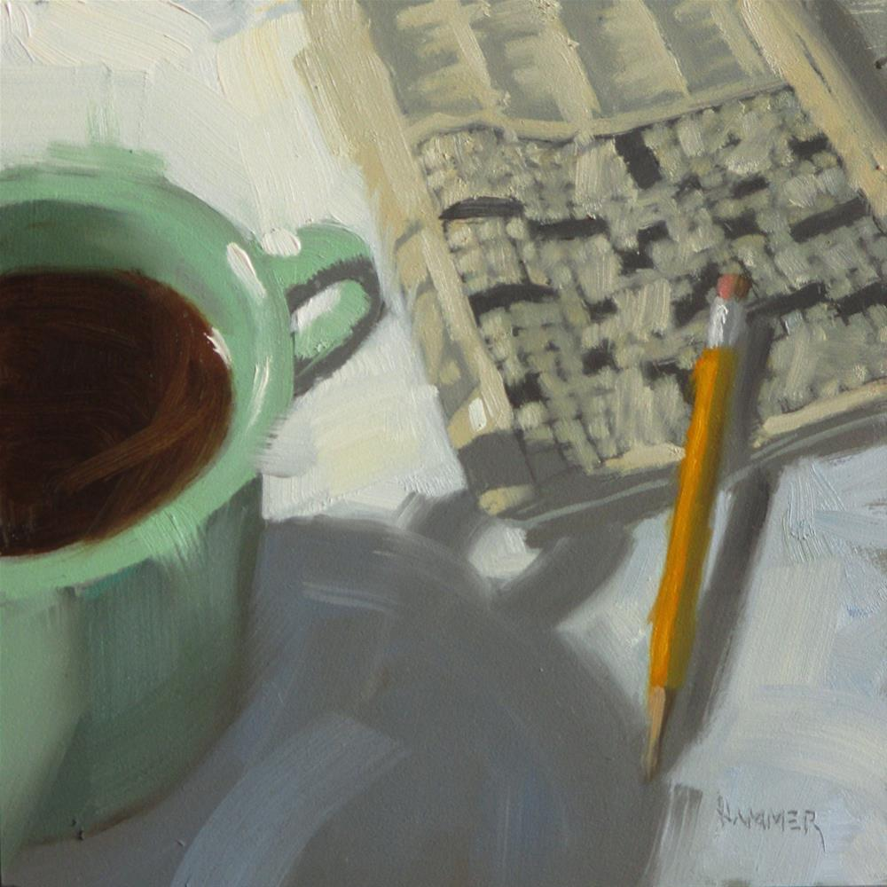 """Green Cup with a crossword  6 x 6  oil"" original fine art by Claudia Hammer"