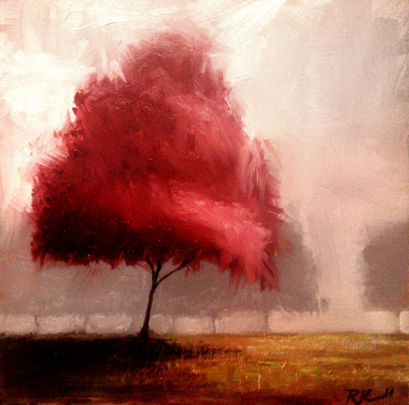 """Red Tree in the Park"" original fine art by Bob Kimball"