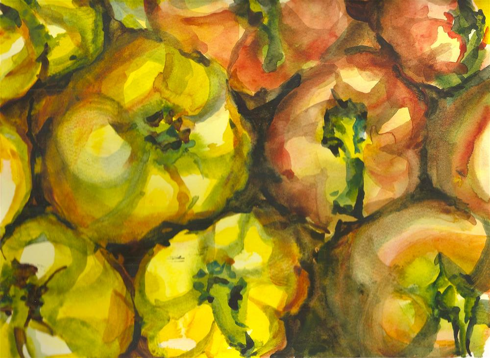 """Yellow and Red Peppers"" original fine art by Jean Krueger"
