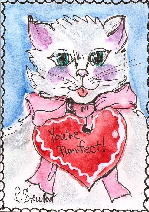 """""""ACEO Valentine Kitty White Cat Pink Bow Orig Illustration Art by Penny StewArt"""" original fine art by Penny Lee StewArt"""