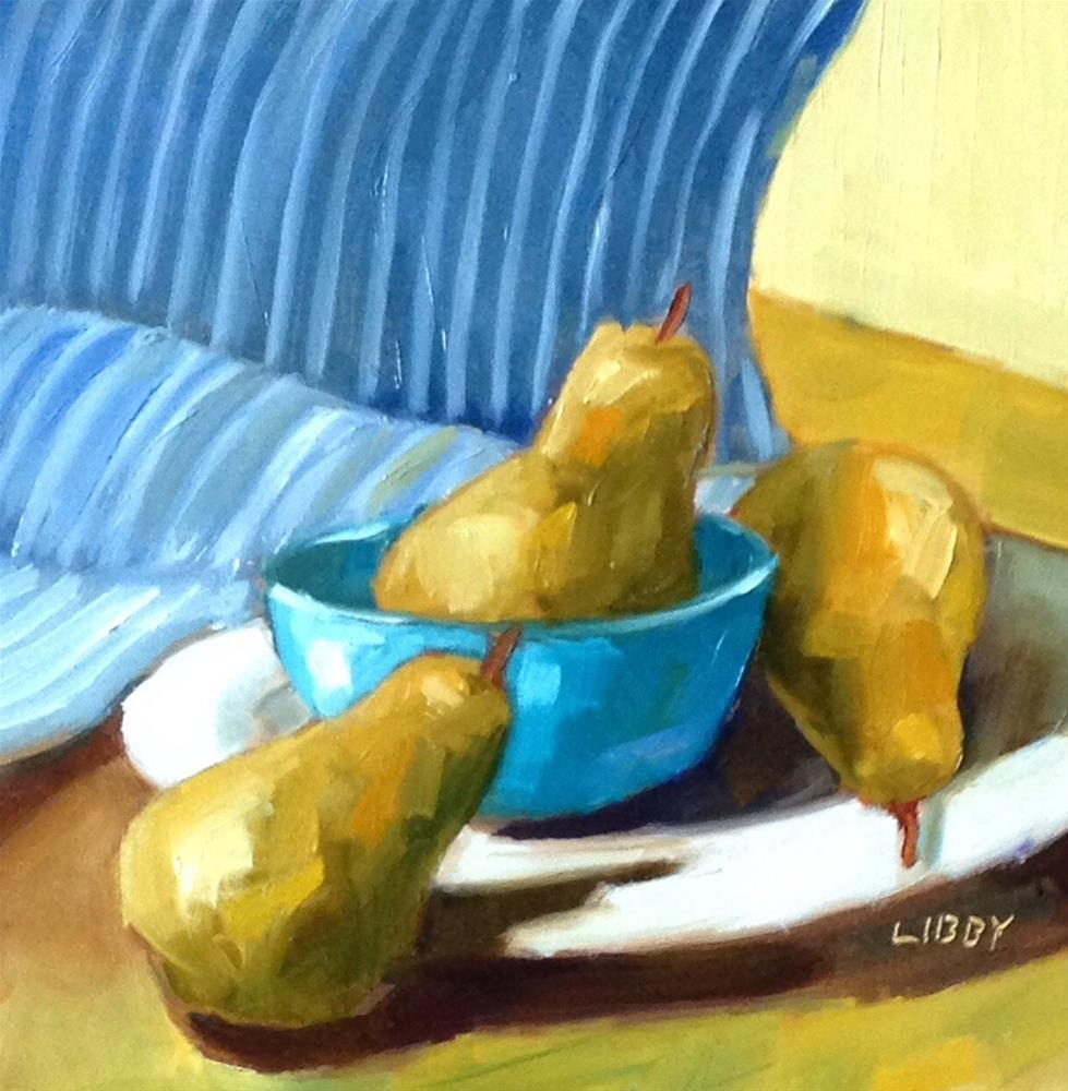 """Yoga Pears"" original fine art by Libby Anderson"