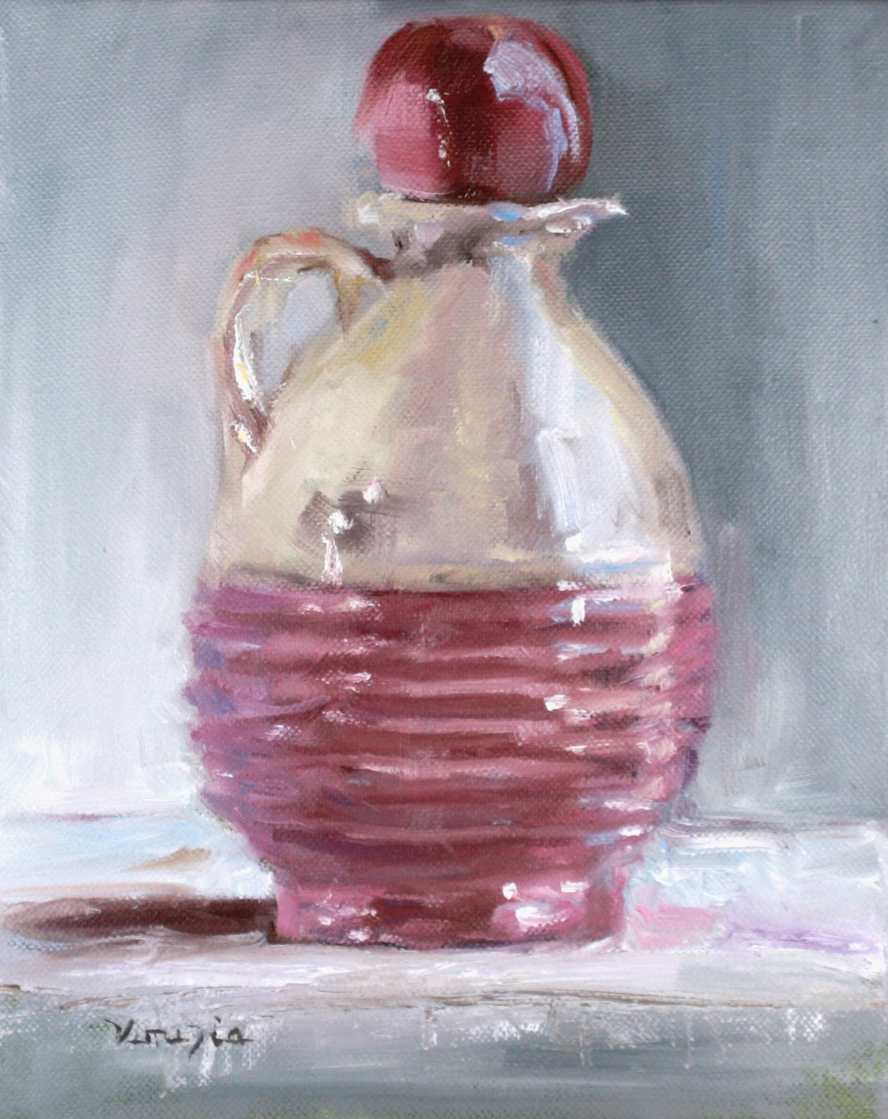 """still life with vintage pink and white jug"" original fine art by Carrie Venezia"