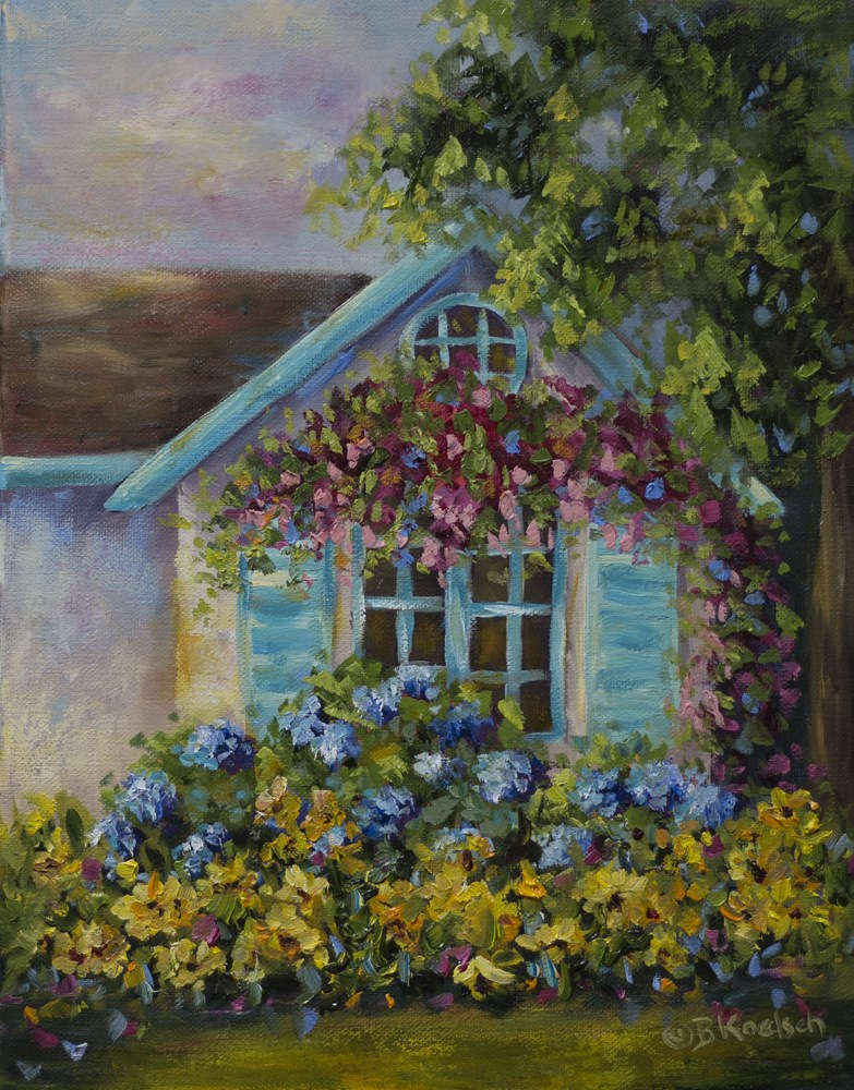 """Floral Cottage"" original fine art by Bobbie Koelsch"