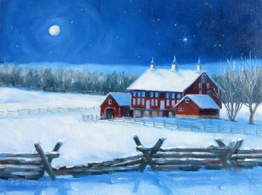 """'Christmas Eve on the Codori Farm' Gettysburg, PA An Original Oil Painting by Claire Beadon Carnell"" original fine art by Claire Beadon Carnell"