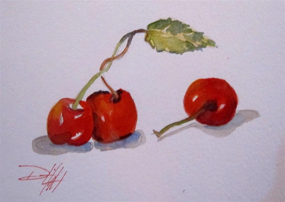 """Three Cherries"" original fine art by Delilah Smith"