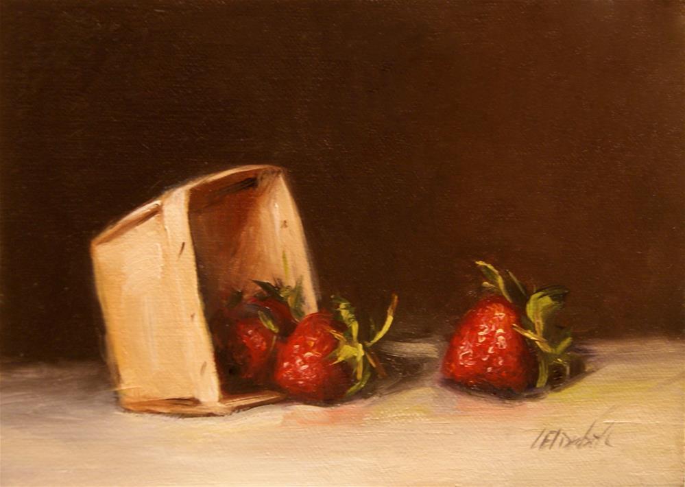 """Strawberries with Market Basket,  Oil on 5x7 Linen Panel"" original fine art by Carolina Elizabeth"