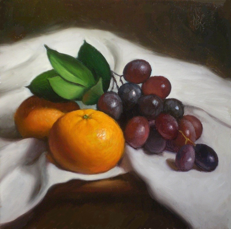 """Red Grapes, White Cloth and Orange"" original fine art by Debra Becks Cooper"