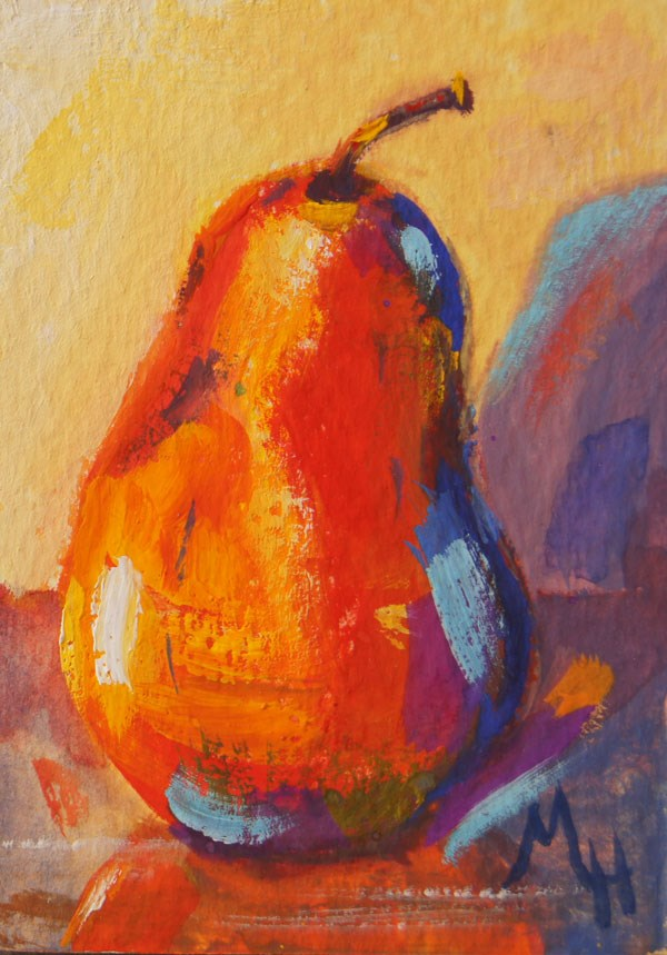 """Pear still life 2 gouache ACEO"" original fine art by Marion Hedger"