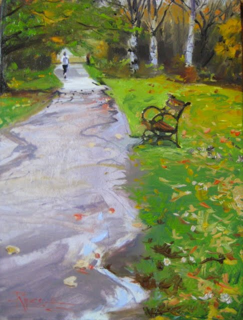 """Runner at the Arboretum  oil landscape painting, Arboretum series"" original fine art by Robin Weiss"