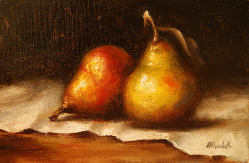 """Seckel Pears,  Oil on 4x6 Linen Panel"" original fine art by Carolina Elizabeth"